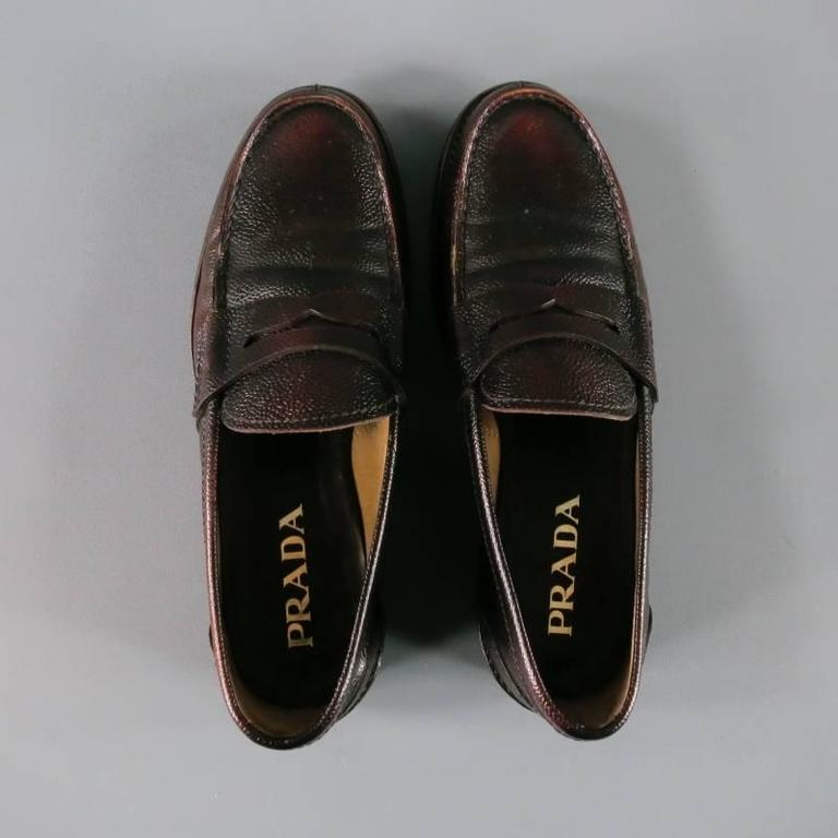 Men's PRADA Size 8 Distressed Brown Pebbled Leather Penny Loafers In Excellent Condition For Sale In San Francisco, CA
