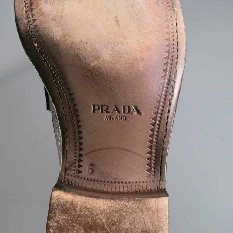 Men's PRADA Size 8 Distressed Brown Pebbled Leather Penny Loafers For Sale 2