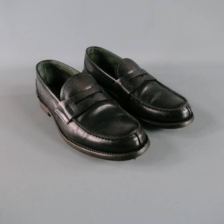 Menu0026#39;s PRADA Size 8 Distressed Black Pebbled Leather Penny Loafers For Sale At 1stdibs