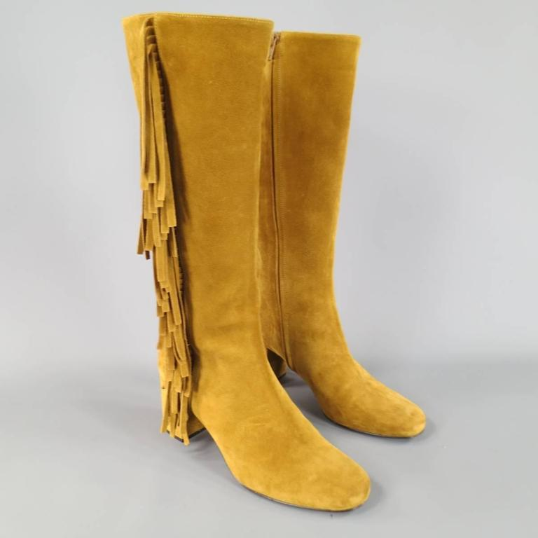 Orange SAINT LAURENT Boots Size 8.5 Tan Suede Fringe Knee High Shoes Heels For Sale