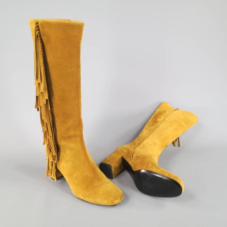 SAINT LAURENT Boots Size 8.5 Tan Suede Fringe Knee High Shoes Heels In Excellent Condition For Sale In San Francisco, CA