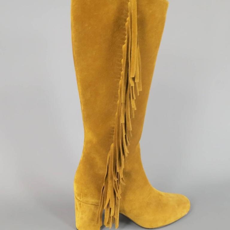 Women's SAINT LAURENT Boots Size 8.5 Tan Suede Fringe Knee High Shoes Heels For Sale