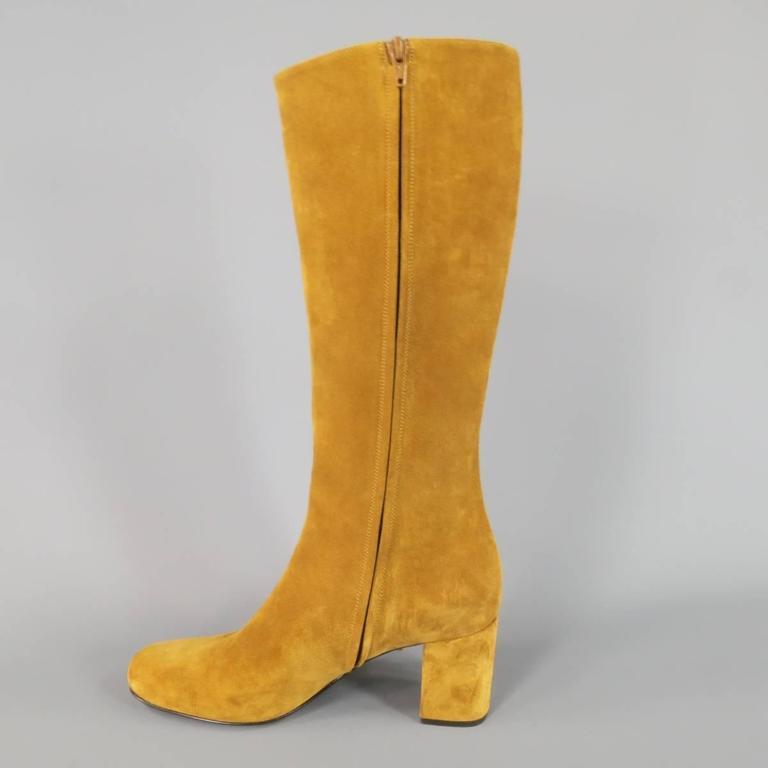 SAINT LAURENT Boots Size 8.5 Tan Suede Fringe Knee High Shoes Heels For Sale 1