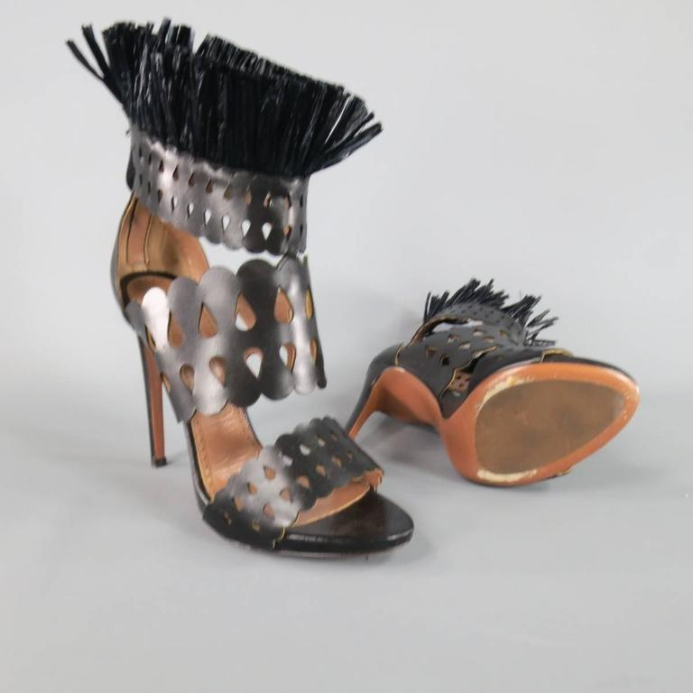 ALAIA Size 8.5 Black Cutout Leather Fringe Ankle Sandals In Excellent Condition For Sale In San Francisco, CA