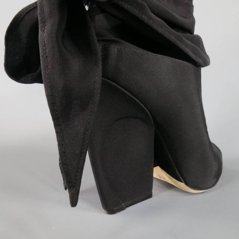 CHRISTIAN DIOR Size 8.5 Black Faille Open Toe Wrap Mules Resort 2015 6