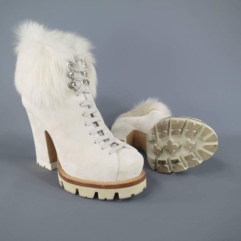 Prada Size 8 5 Off White Suede Lace Up Fur Platform Ankle