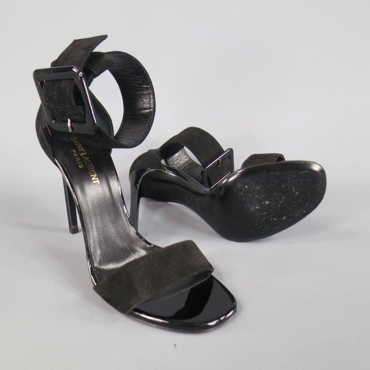 751b97506bd SAINT LAURENT 8.5 Black Suede Oversized Belt Buckle Ankle Strap Jane 105  Sandals at 1stdibs
