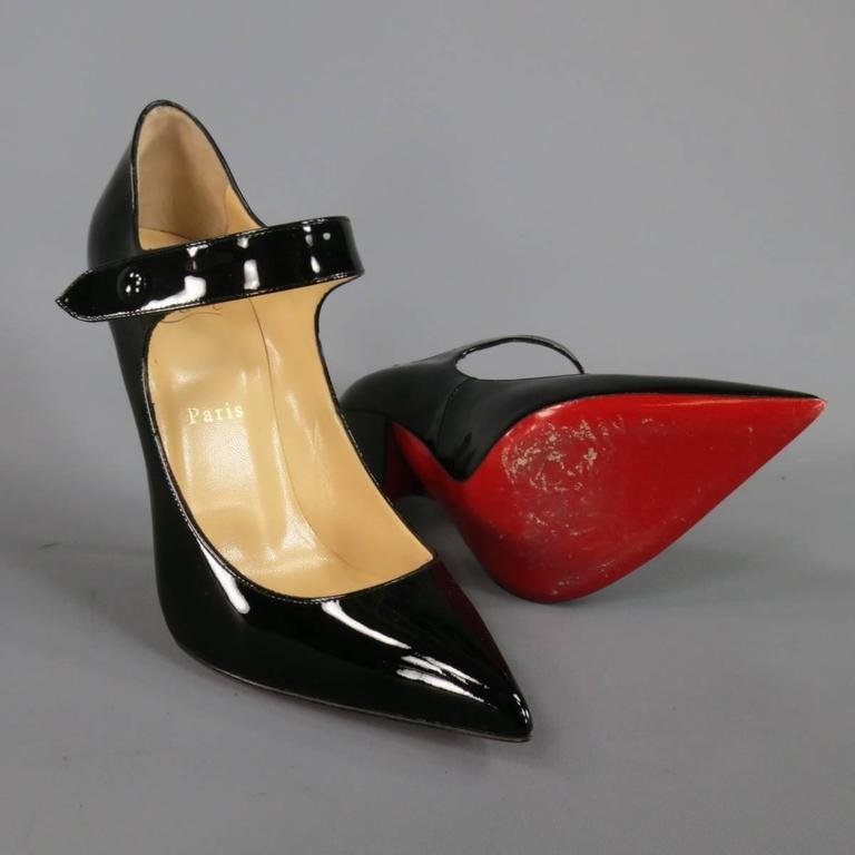 97281b7fce0c0 CHRISTIAN LOUBOUTIN Size 9 Black Patent Leather Pointed Toe Mary Jane Pumps