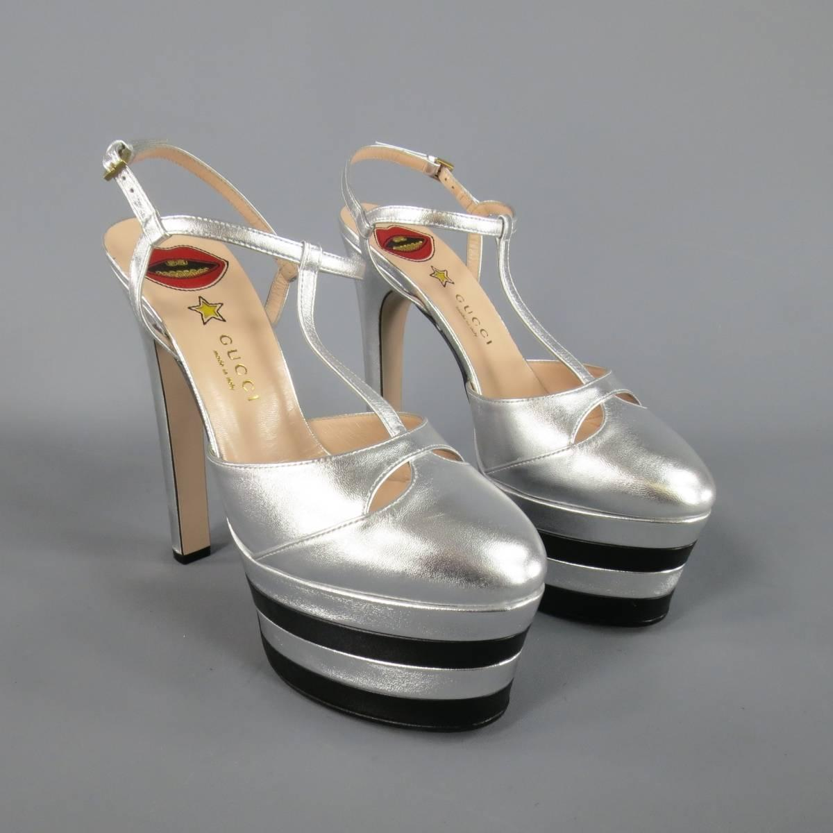 5771ab52d20 GUCCI Size 8.5 Silver and Black Leather T Strap Striped ANGEL Platform Pumps  at 1stdibs
