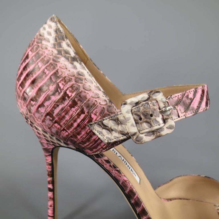 MANOLO BLAHNIK Size 8.5 Pink Snakeskin Mary Jane Peep Toe Caldo Sandals 2
