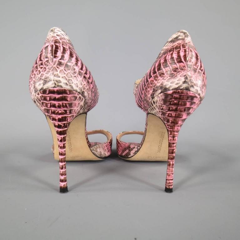 MANOLO BLAHNIK Size 8.5 Pink Snakeskin Mary Jane Peep Toe Caldo Sandals 6
