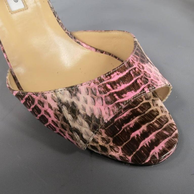 MANOLO BLAHNIK Size 8.5 Pink Snakeskin Mary Jane Peep Toe Caldo Sandals 4