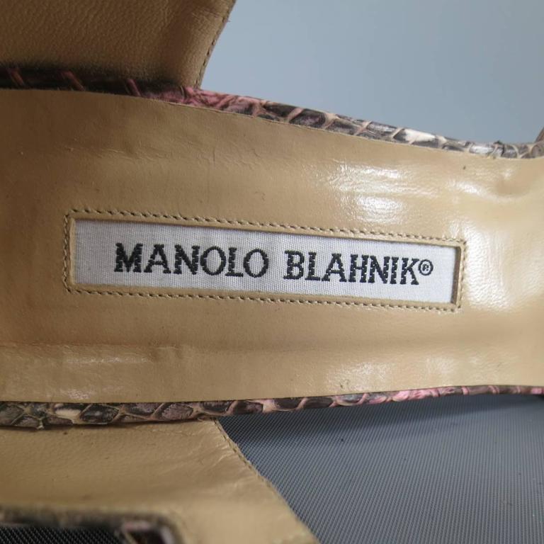 MANOLO BLAHNIK Size 8.5 Pink Snakeskin Mary Jane Peep Toe Caldo Sandals 7