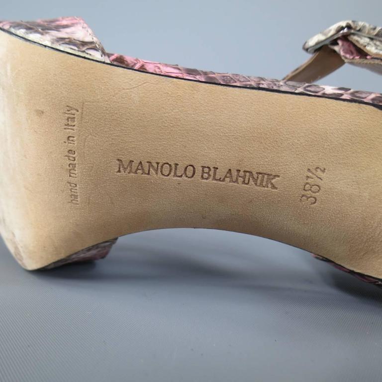 MANOLO BLAHNIK Size 8.5 Pink Snakeskin Mary Jane Peep Toe Caldo Sandals 8