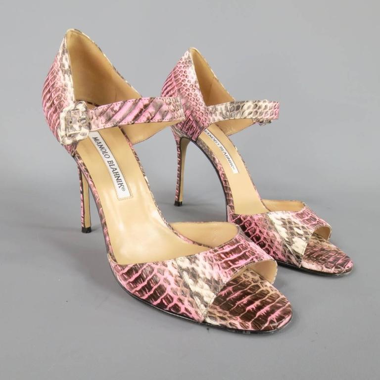 MANOLO BLAHNIK Size 8.5 Pink Snakeskin Mary Jane Peep Toe Caldo Sandals 3