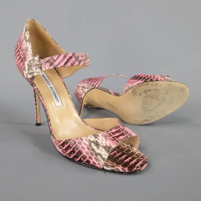MANOLO BLAHNIK Size 8.5 Pink Snakeskin Mary Jane Peep Toe Caldo Sandals 5