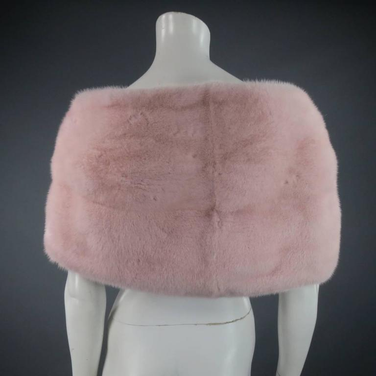 MONIQUE LHUILLIER Size Dusty Rose Pink Mink Fur Wrap Stole 7