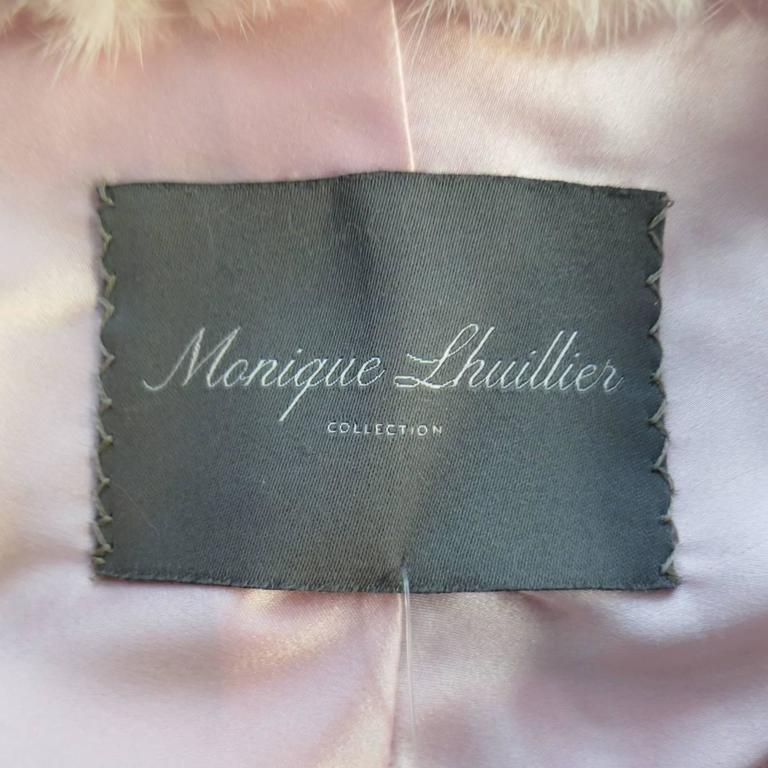 MONIQUE LHUILLIER Size Dusty Rose Pink Mink Fur Wrap Stole 8