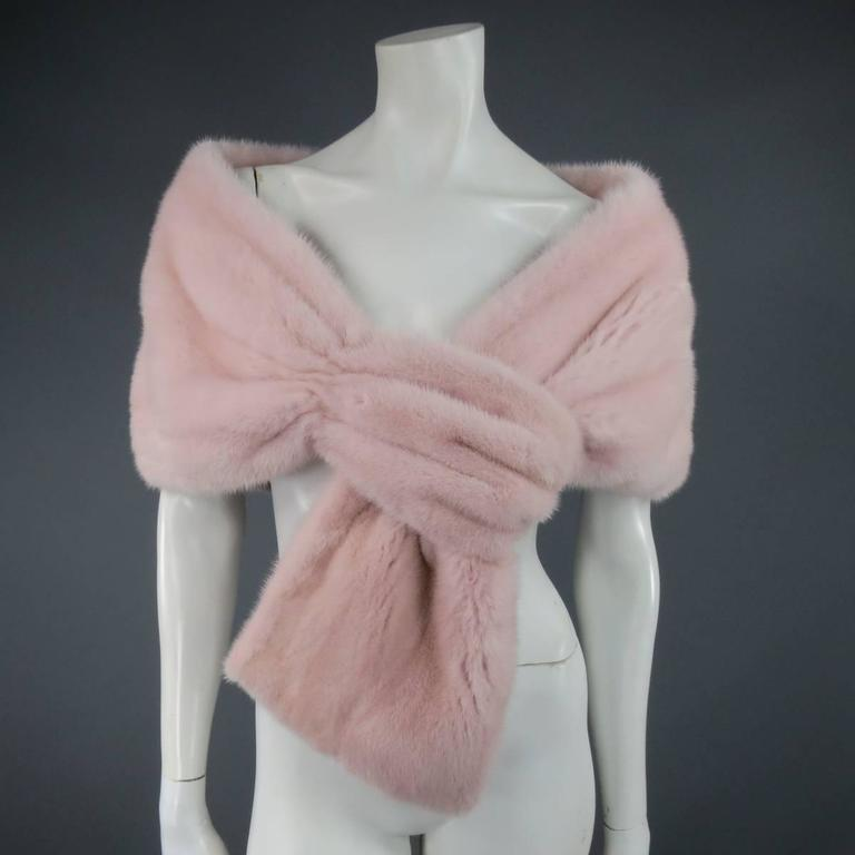 MONIQUE LHUILLIER Size Dusty Rose Pink Mink Fur Wrap Stole 2