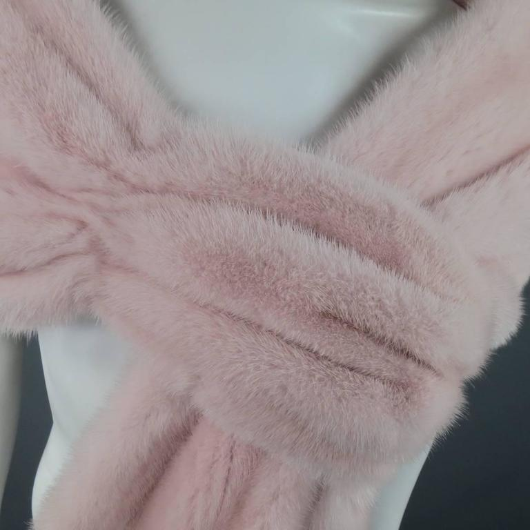 MONIQUE LHUILLIER Size Dusty Rose Pink Mink Fur Wrap Stole 4