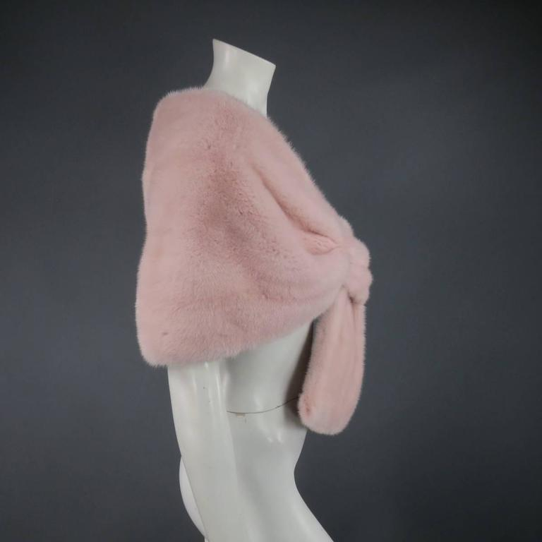 MONIQUE LHUILLIER Size Dusty Rose Pink Mink Fur Wrap Stole 6