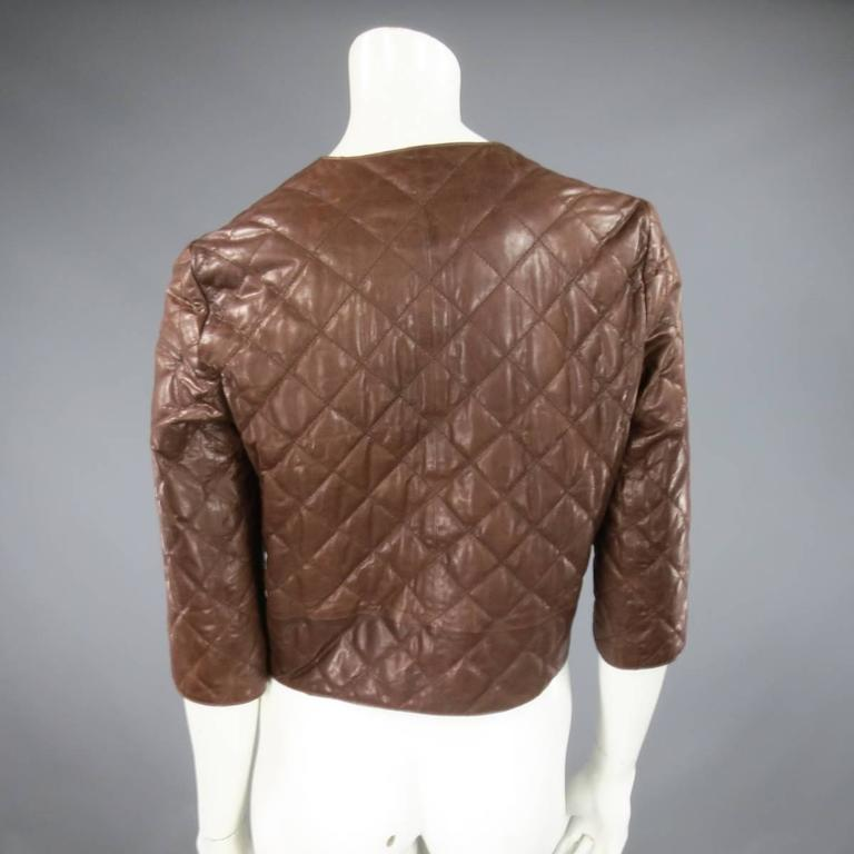 BRUNELLO CUCINELLI Size 4 Brown Cropped Quilted Leather ...