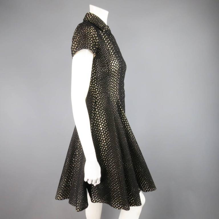 GIAMBATTISTA VALLI Size 4 Black Lace Short Sleeve Flared Skirt Shirt Dress 4