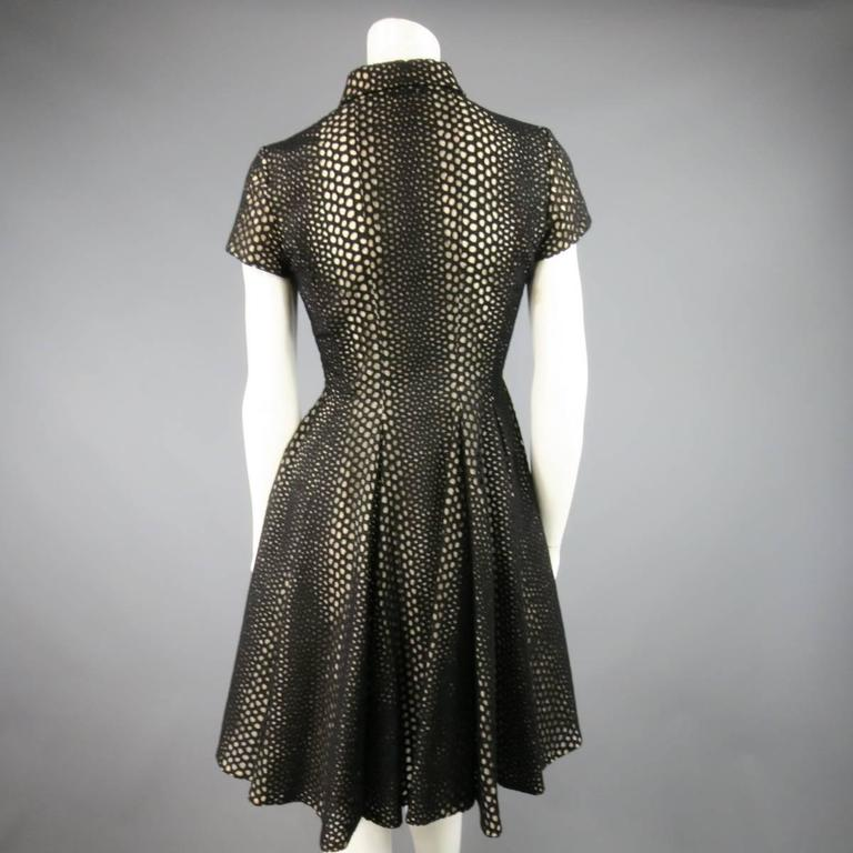 GIAMBATTISTA VALLI Size 4 Black Lace Short Sleeve Flared Skirt Shirt Dress 5