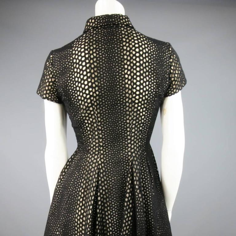 GIAMBATTISTA VALLI Size 4 Black Lace Short Sleeve Flared Skirt Shirt Dress 9