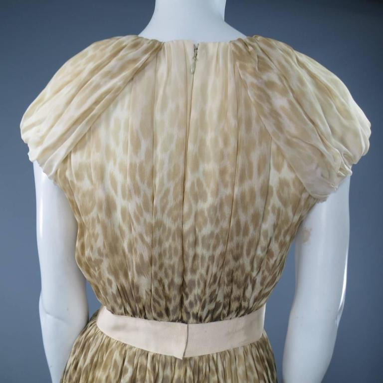 Giambattista Valli Couture Size 6 Beige and Brown Leopard Draped Silk Dress For Sale 4