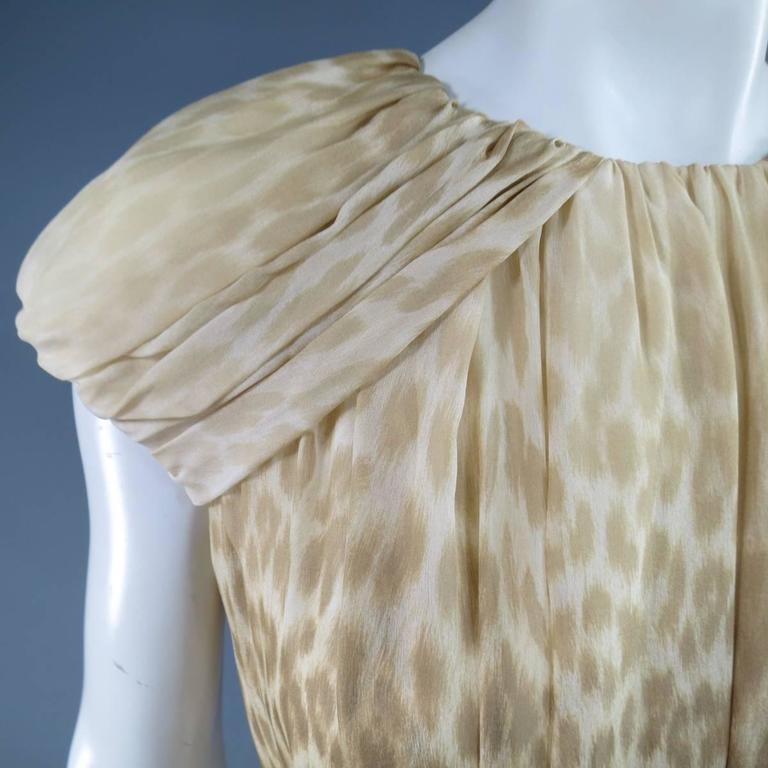 Giambattista Valli Couture Size 6 Beige and Brown Leopard Draped Silk Dress In Excellent Condition For Sale In San Francisco, CA
