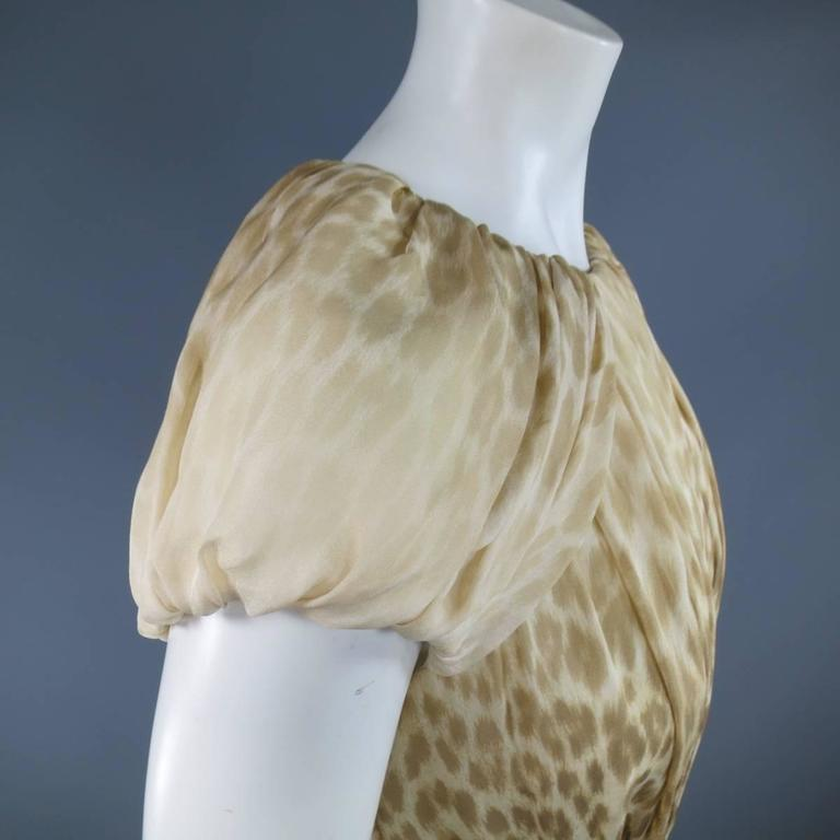 Giambattista Valli Couture Size 6 Beige and Brown Leopard Draped Silk Dress For Sale 3