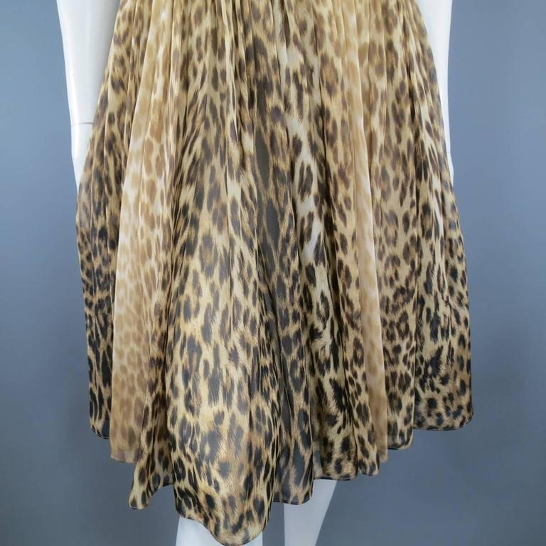 Giambattista Valli Couture Size 6 Beige and Brown Leopard Draped Silk Dress For Sale 1