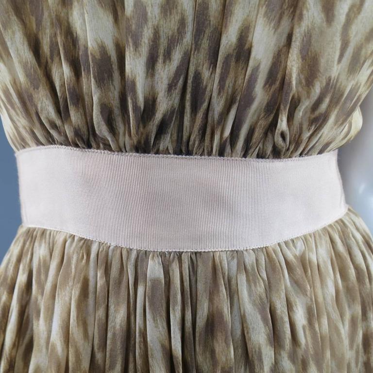 Women's Giambattista Valli Couture Size 6 Beige and Brown Leopard Draped Silk Dress For Sale
