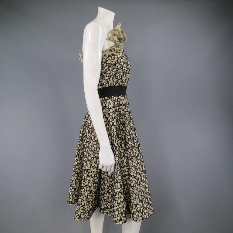GIAMBATTISTA VALLI 6 Beige & Black Leopard Floral Lace Ruffle One Shoulder Dress In Excellent Condition For Sale In San Francisco, CA
