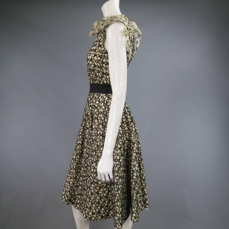 GIAMBATTISTA VALLI 6 Beige & Black Leopard Floral Lace Ruffle One Shoulder Dress 5
