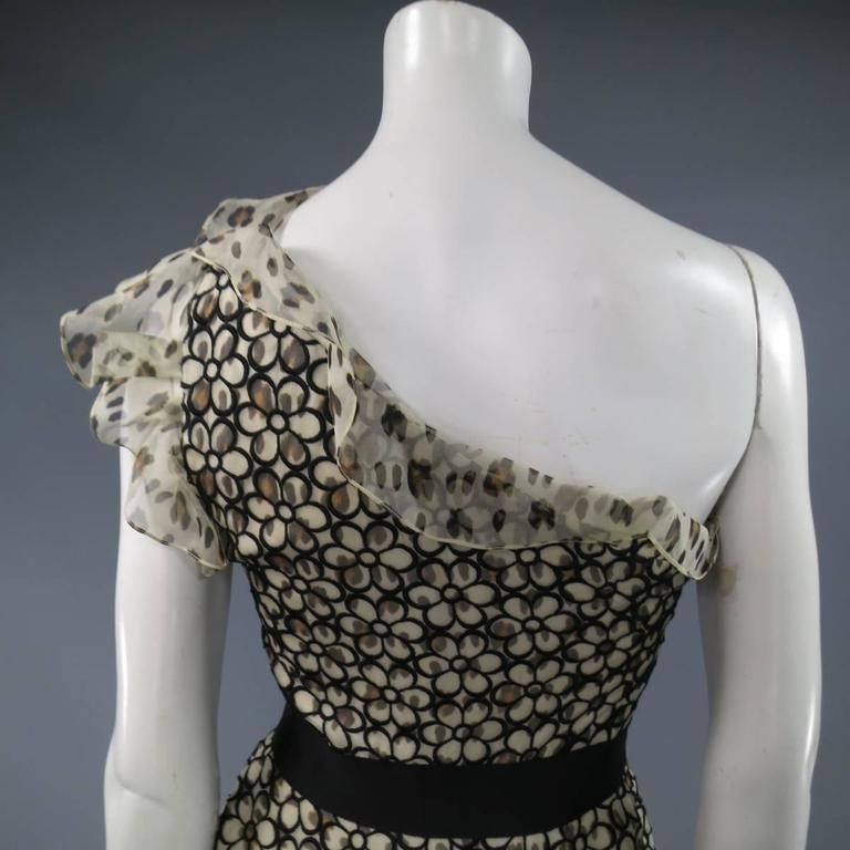 GIAMBATTISTA VALLI 6 Beige & Black Leopard Floral Lace Ruffle One Shoulder Dress For Sale 1