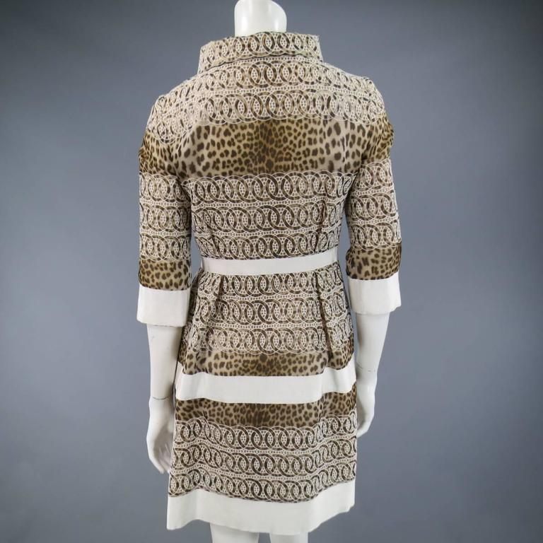 Giambattista Valli Size 6 Beige Brown Leopard Embroidered Lace Silk Coat Dress For Sale 3