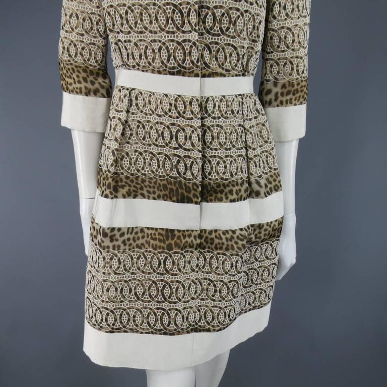 Giambattista Valli Size 6 Beige Brown Leopard Embroidered Lace Silk Coat Dress For Sale 4