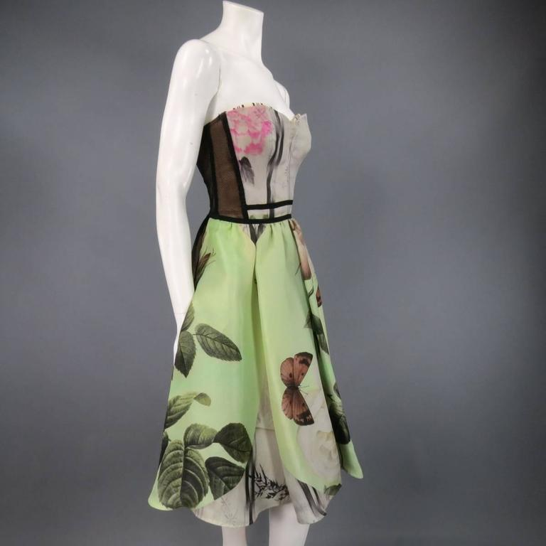 ANTONIO MARRAS Size 2 Green Butterfly Print Bustier Cocktail Dress 6