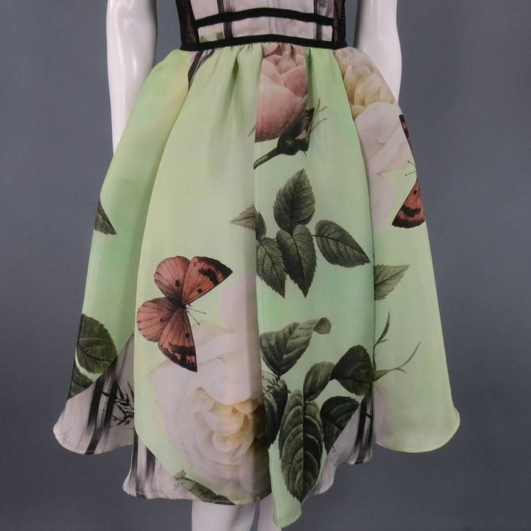 ANTONIO MARRAS Size 2 Green Butterfly Print Bustier Cocktail Dress 4