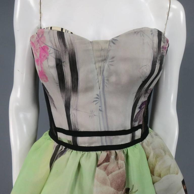 ANTONIO MARRAS Size 2 Green Butterfly Print Bustier Cocktail Dress 3