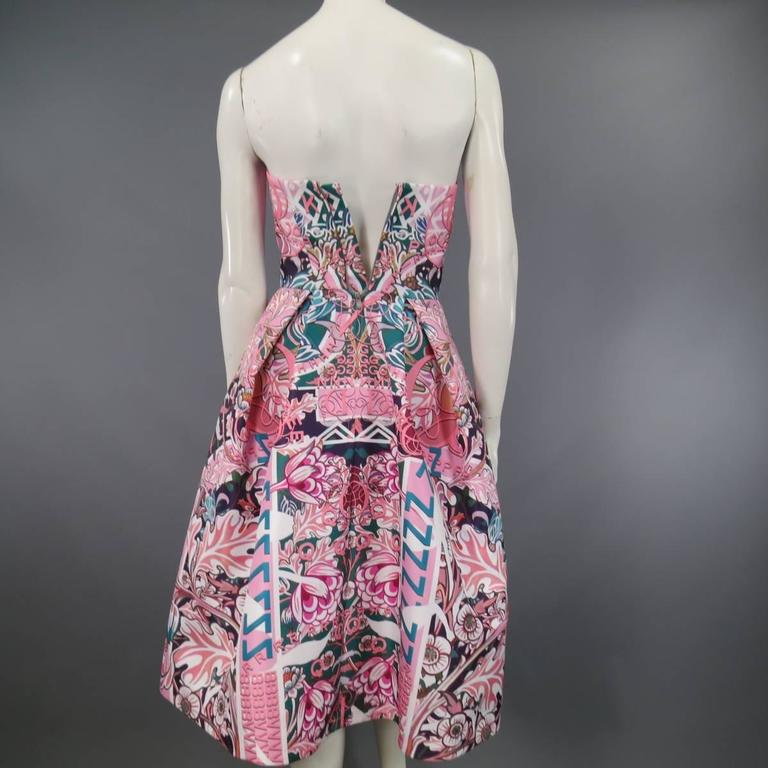 MARY KATRANTZOU Size 2 Pink & Green Floral Print Strapless A Line Cocktail Dress 8