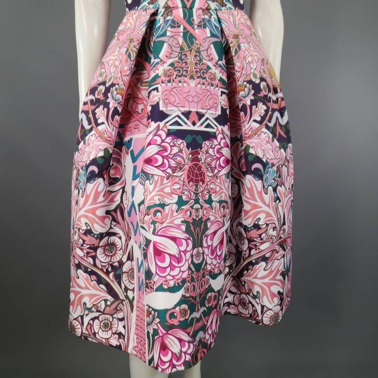 MARY KATRANTZOU - Dress Size 2 Pink & Green Floral Strapless A Line Cocktail In Excellent Condition For Sale In San Francisco, CA