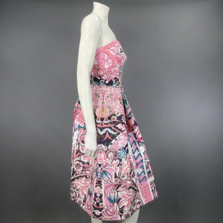 MARY KATRANTZOU Size 2 Pink & Green Floral Print Strapless A Line Cocktail Dress 3