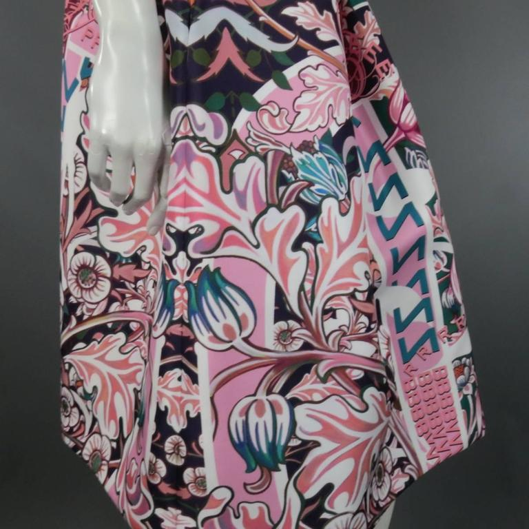 Women's MARY KATRANTZOU - Dress Size 2 Pink & Green Floral Strapless A Line Cocktail For Sale