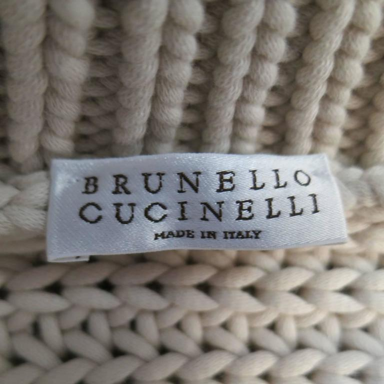 BRUNELLO CUCINELLI Size M Beige Chunky Knit Cropped Sparkle Zip Shoulder Sweater 10