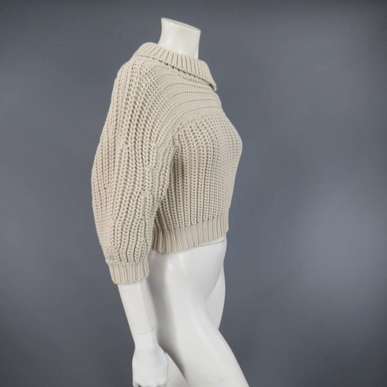 BRUNELLO CUCINELLI Size M Beige Chunky Knit Cropped Sparkle Zip Shoulder Sweater 3