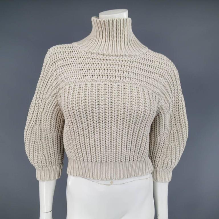 BRUNELLO CUCINELLI Size M Beige Chunky Knit Cropped Sparkle Zip Shoulder Sweater 2