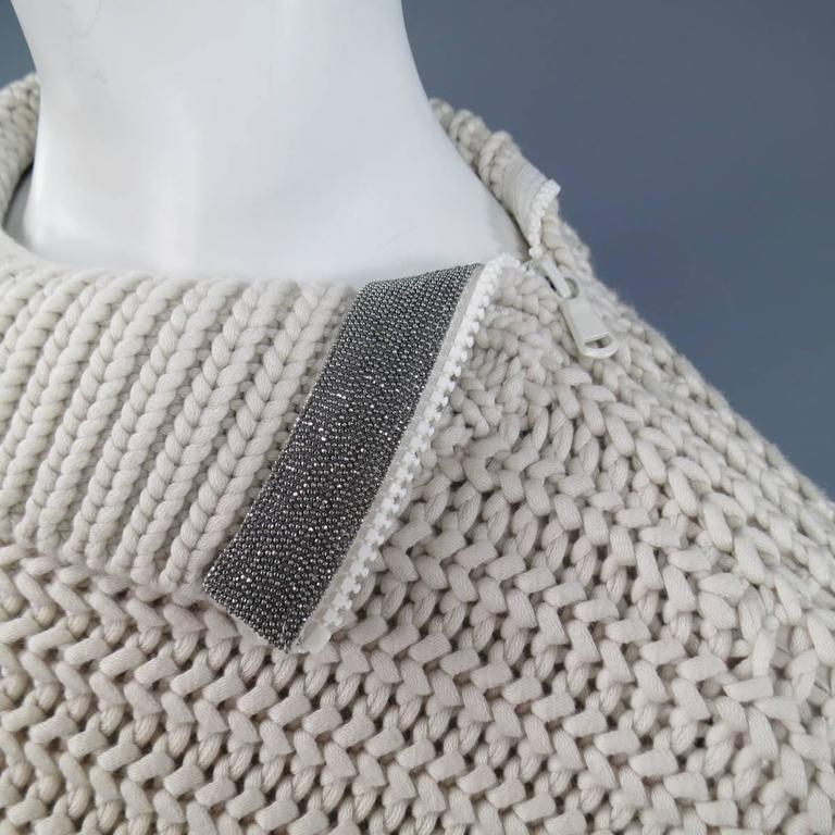 BRUNELLO CUCINELLI Size M Beige Chunky Knit Cropped Sparkle Zip Shoulder Sweater 4